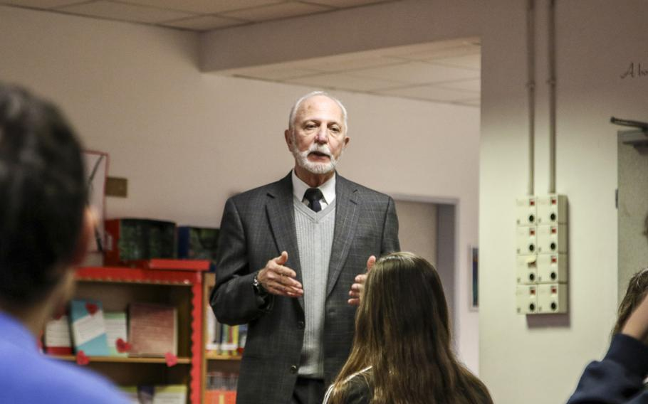Roger Sabbadini, a California physiologist and author, told Vicenza High School history students the story of his father on March 15, 2018. Alessandro Sabbadini escaped Fascist Italy to fight with the U.S. Army in his home country.