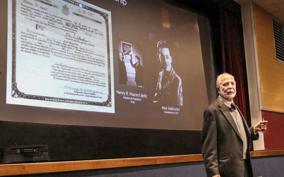 Author Roger Sabbadini discusses his father Alessandro Sabbadini's flight from Fascist Italy at a talk Thursday, March 15, 2018, sponsored by U.S. Army Africa at Casema Ederle. Sabbadini became a U.S. soldier on the battlefield in Italy during WWII.
