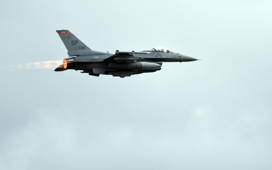 An F-16 assigned to the 480th Fighter Squadron at Spangdahlem Air Base, Germany, takes off Tuesday, March 13, 2018, from Spangdahlem during a basewide exercise. Airmen and F-16s deployed to Germany from the Ohio National Guard also participated in the exercise, the largest of its kind at Spangdahlem in at least 18 months.