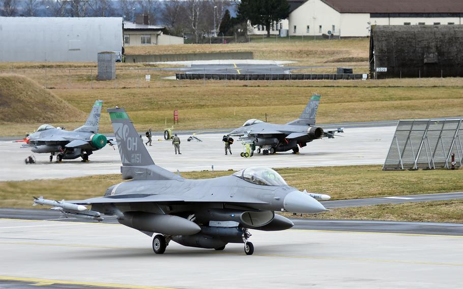 Ohio National Guard F-16 fighter jets from the 112th Expeditionary Fighter Squadron, deployed to Europe from Toledo, prepared for training on Tuesday, March 13, 2018, at Spangdahlem Air Base, Germany. The jets were participating in a basewide exercise with Spangdahlem personnel.