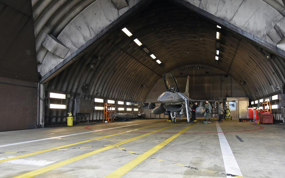 Final preparations before flight are made on Tuesday, March 13, 2018, on an F-16 assigned to the 480th Fighter Squadron at Spangdahlem Air Base, Germany. Flying operations were done almost daily during a two-week, basewide readiness exercise that was to conclude Friday.