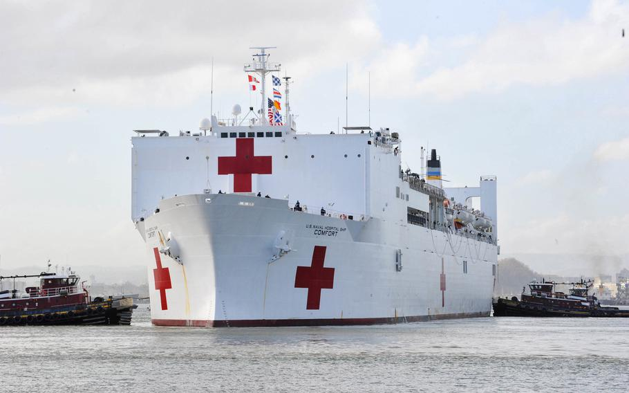The Military Sealift Command hospital ship USNS Comfort arrives in San Juan, Puerto Rico, Oct. 3, 2017. The Comfort was there to help with Hurricane Maria aid and relief operations. The Navy proposes mothballing one of its two hospital ships to free money to spend on warships, submarines and aircraft.