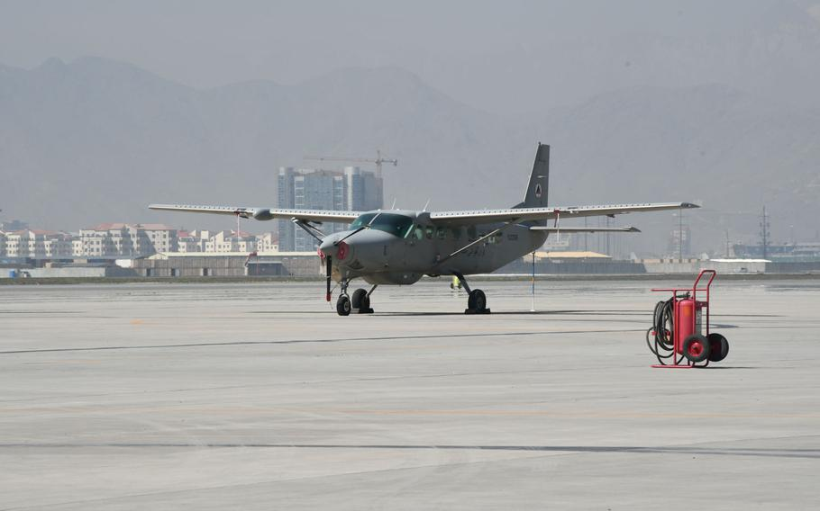 An Afghan air force Cessna 208 Caravan sits at Hamid Karzai International Airport in Kabul on Saturday, March 17, 2018.