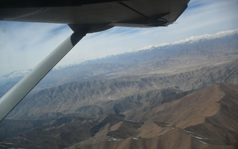 An Afghan air force Cessna 208 Caravan flies between Kabul and Kandahar on Saturday, March 17, 2018. U.S. forces are pushing the Afghans to use the C208 for more tasks, but they?ve been hesitant to choose the plane over more familiar, Russian-made Mi-17 helicopters.