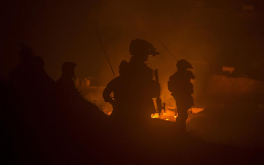 Afghan Special Operations soldiers destroy a Taliban weapons cache during a night operation in Ney Meydan, Sar-e Pul province, Afghanistan, Feb. 23, 2018. Afghan Special Security Forces maintained constant pressure on the Taliban and IS-K throughout the winter in the northern Afghan provinces.