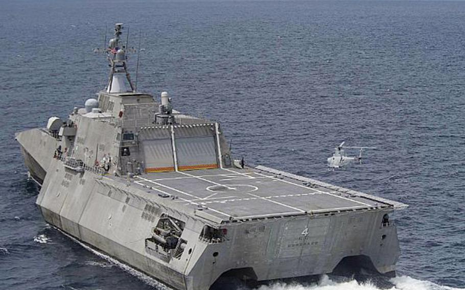 An MQ-8B Fire Scout drone prepares to land aboard the littoral combat ship USS Coronado last year in the Sulu Sea.