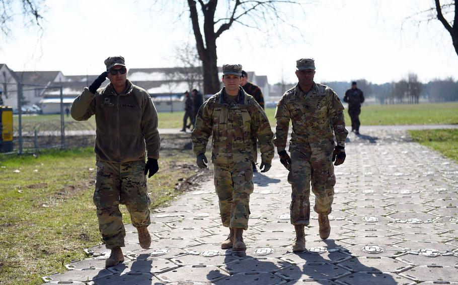 Soldiers with the California National Guard's 40th Infantry Division, walking to the American headquarters during Exercise Citadel Guibert, Wednesday, March 21, 2018. Many soldiers with this division will deploy to Afghanistan this summer.