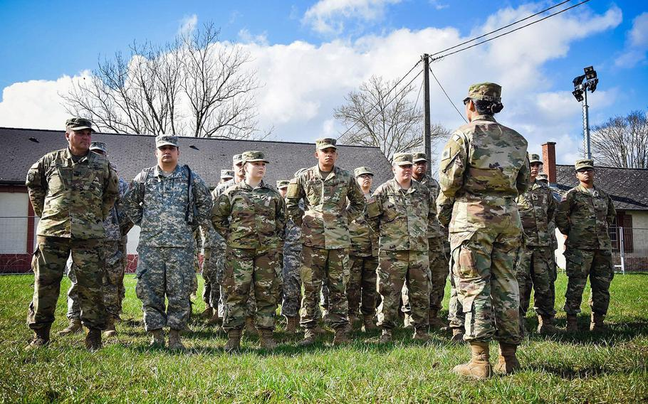 Soldiers from the California National Guard's 40th Infantry Division stand in formation in Mourmelon, France, March 16, 2018. The unit is training there before deploying to Afghanistan.
