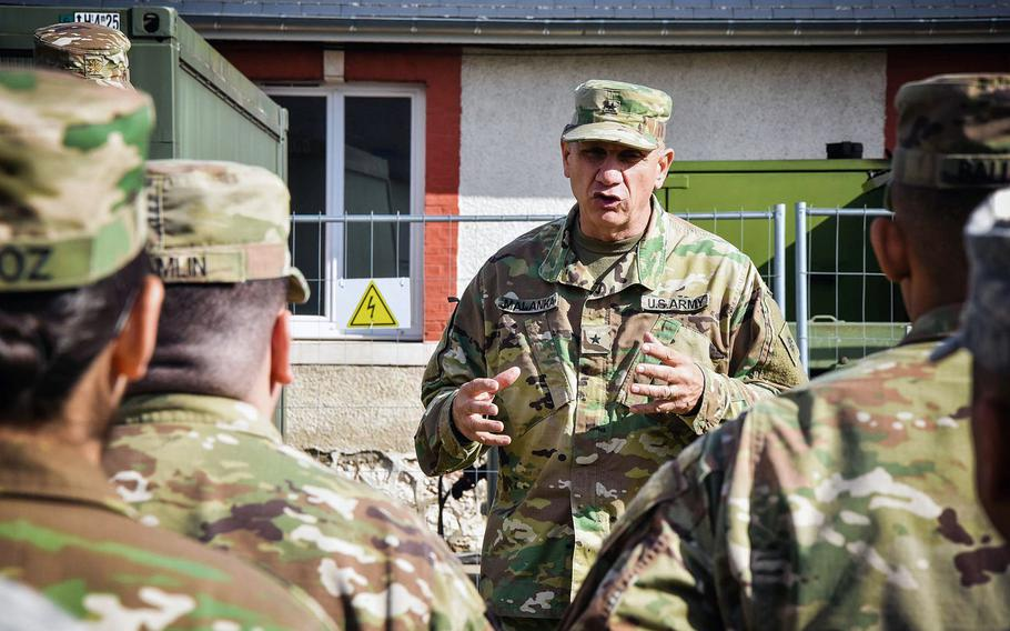 Soldiers from the California National Guard's 40th Infantry Division listen to division commander Brig. Gen. Mark Malanka in Mourmelon, France, March 16, 2018. The unit is training there before deploying to Afghanistan.