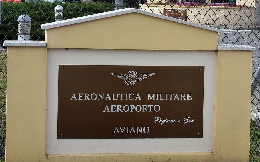 The Italian sign at the main gate of Aviano Air Base, Italy. A Moroccan national working for an Italian company on a project directed by the Italian Air Force was critically injured Thursday afternoon in an accident on base.