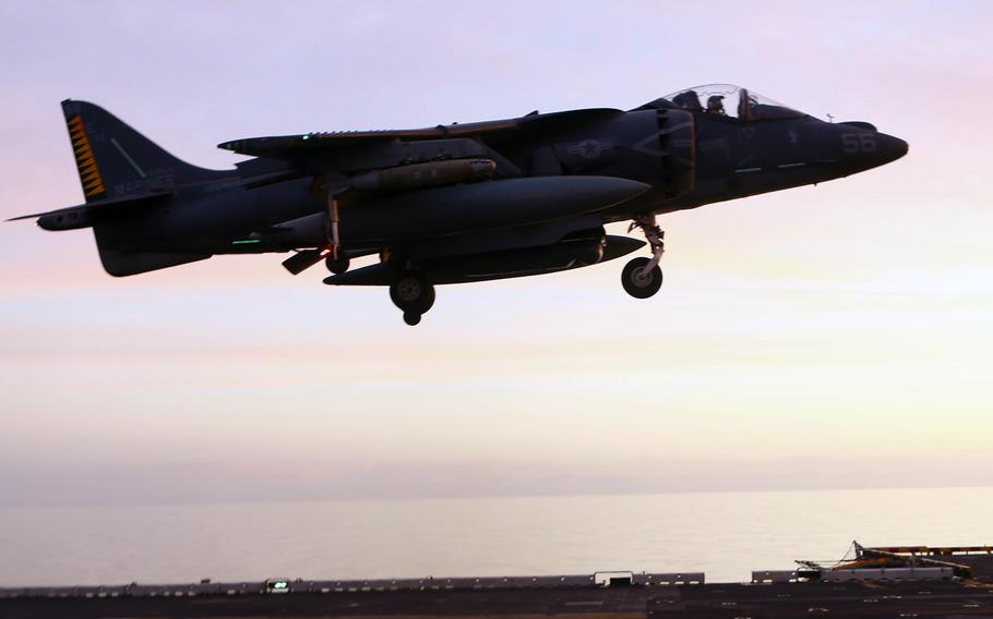 An AV-8B Harrier II with 22nd Marine Expeditionary Unit  lands on the USS Wasp in 2016 after conducting air strikes against Islamic State group targets in Sirte, Libya. On Saturday, the U.S. military launched its first strike against Al-Qaida in Libya as operations expand beyond ISIS fighters that have been the primary targets in the past.