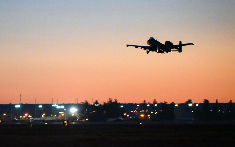 A U.S. Air Force A-10 Thunderbolt II departs Incirlik Air Base, Turkey, Jan. 20, 2018. The U.S. military rejected reports that it was preparing to abandon bases in Qatar and Turkey, issuing a flurry of Twitter postings Sunday that said the reports were false.