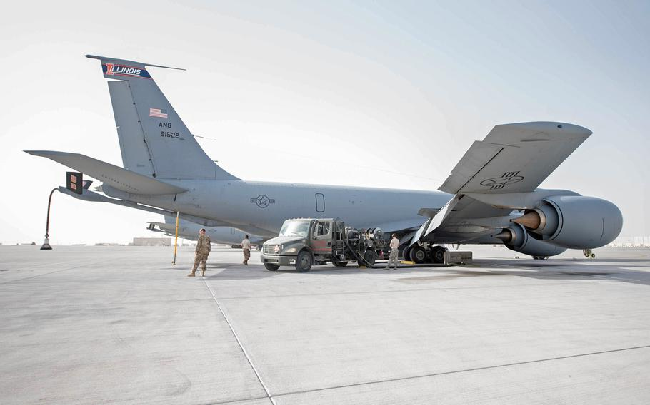 Airmen assigned to the 379th Expeditionary Logistics Readiness Squadron fuel a KC-135 Stratotanker at Al Udeid Air Base, Qatar, Jan. 23, 2018. The U.S. military rejected reports that it was preparing to abandon bases in Qatar and Turkey, issuing a flurry of Twitter postings Sunday that said the reports were false.