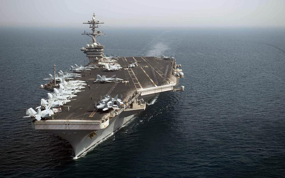 The aircraft carrier USS Theodore Roosevelt transits the Arabian Gulf earlier this month.