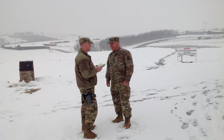 Col. Nick Ducich, who assumed command of NATO's Multinational Battle Group-East in Kosovo last week, speaks to Capt. Jason Sweeney at Camp Bondsteel on Thursday, March 22, 2018. Ducich, of the California National Guard, is the first U.S. commander of Serbian origin to serve in the Kosovo force.