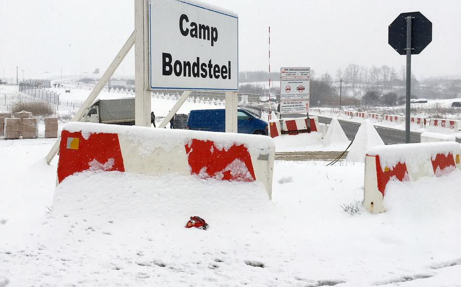 Entrance to Camp Bondsteel, headquarters of NATO's U.S.-led Multinational Battle Group-East. The sprawling facility, named after a Medal of Honor recipient from the Vietnam War, was hit by a spring snow storm on Thursday, March 22, 2018.