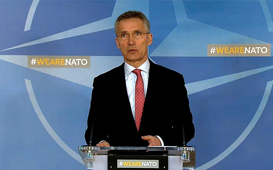 NATO Secretary General Jens Stoltenberg talks about the alliance's further decisions following the use of a nerve agent in Salisbury at NATO headquarters in Brussels, Belgium, Tuesday, March 27, 2018.