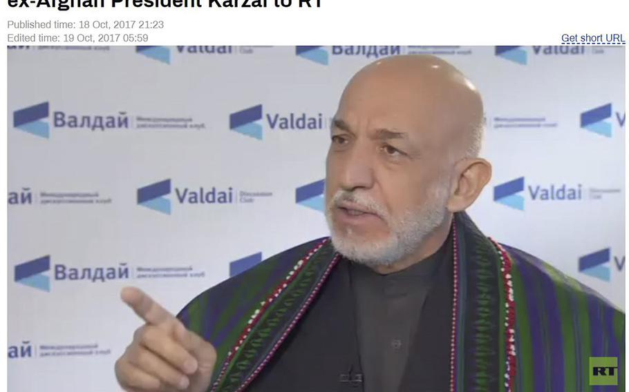 Former Afghan President Hamid Karzai criticizes the U.S. in an interview with Russian TV. U.S. commanders have accused Russia of exaggerating ISIS strength in the country and arming the Taliban.