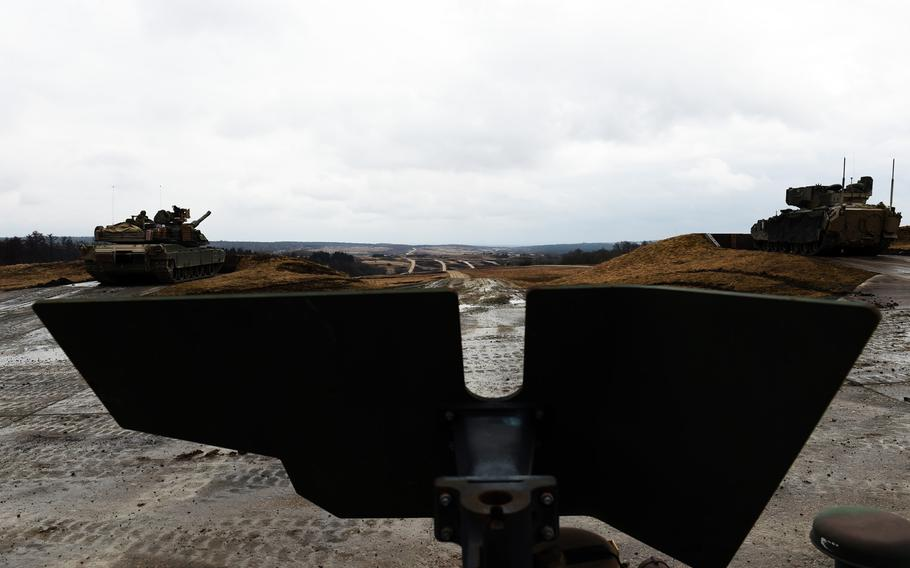 The view from the gunner's turret of an uparmored Humvee during a live-fire exercise at Grafenwoehr, Germany, Wednesday, March 28, 2018.