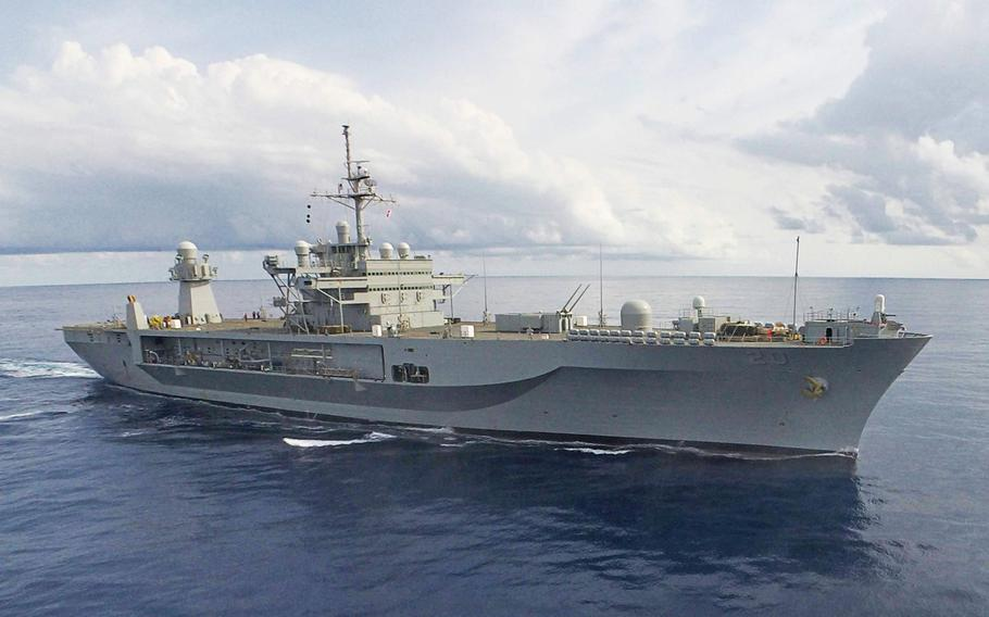 The USS Mount Whitney, 6th Fleet's command ship, transits the Mediterranean Sea on March 24, 2018, en route to Liberia to take part in Obangame Express.