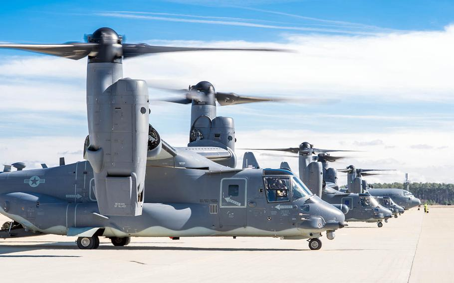 A trio of Air Force CV-22 Osprey aircraft prepare to launch from Pope Army Airfield, N.C., Feb. 8, 2018.