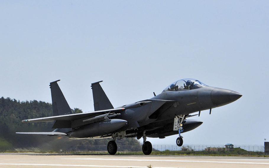 An F-15K Slam Eagle takes off last year from Kunsan Air Base, South Korea.