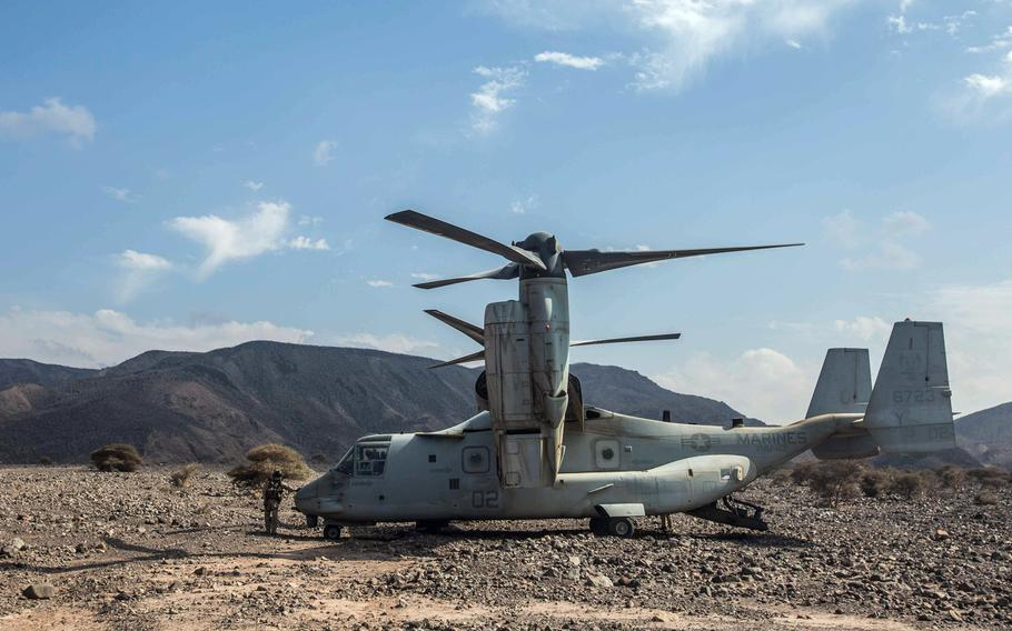 A U.S. Marine Corps MV-22B Osprey parked in Arta Range, Djibouti, during Alligator Dagger, April 2, 2018. The exercise was canceled and U.S. air operations in Djibouti remain grounded Friday after two Marine Corps aircraft were involved in crashes earlier this week.