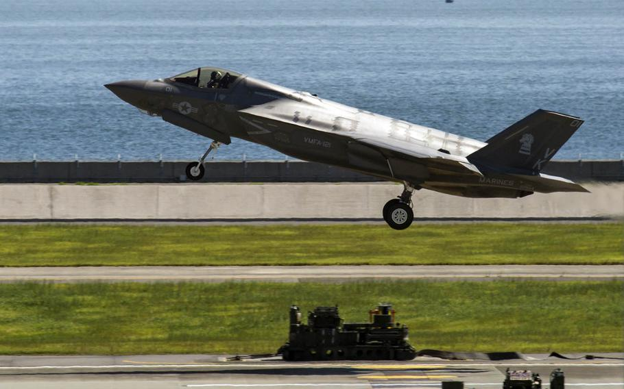 An F-35B Lightning II aircraft with Marine Fighter Attack Squadron 121 departs Marine Corps Air Station Iwakuni, Japan, Sept. 18, 2017.