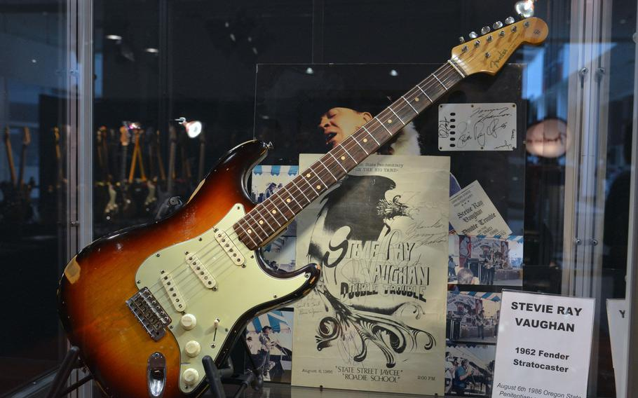 A 1962 Fender Stratocaster once played by Stevie Ray Vaughn is one of many vintage Fender guitars on display at the Musikmesse, a music trade fair in Frankfurt, Germany.