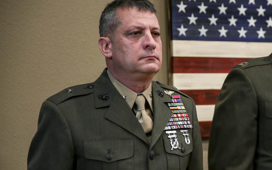 """Marine Brig. Gen. Kurt Stein ridiculed as """"fake news"""" allegations of sexual harassment and also joked about a chaplain recently fired for having sex in public."""