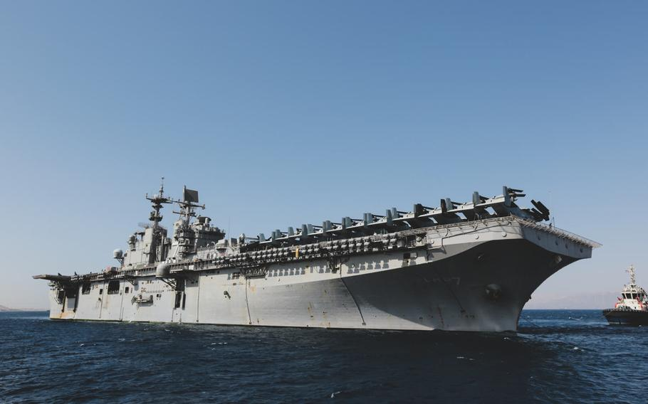 USS Iwo Jima and an embarked 26th Marine Expeditionary Unit arrive in Aqaba, Jordan for exercise Eager Lion 18, April 15, 2018.