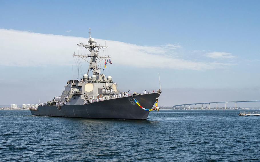 The guided-missile destroyer USS Milius arrives at its homeport in San Diego in 2015.