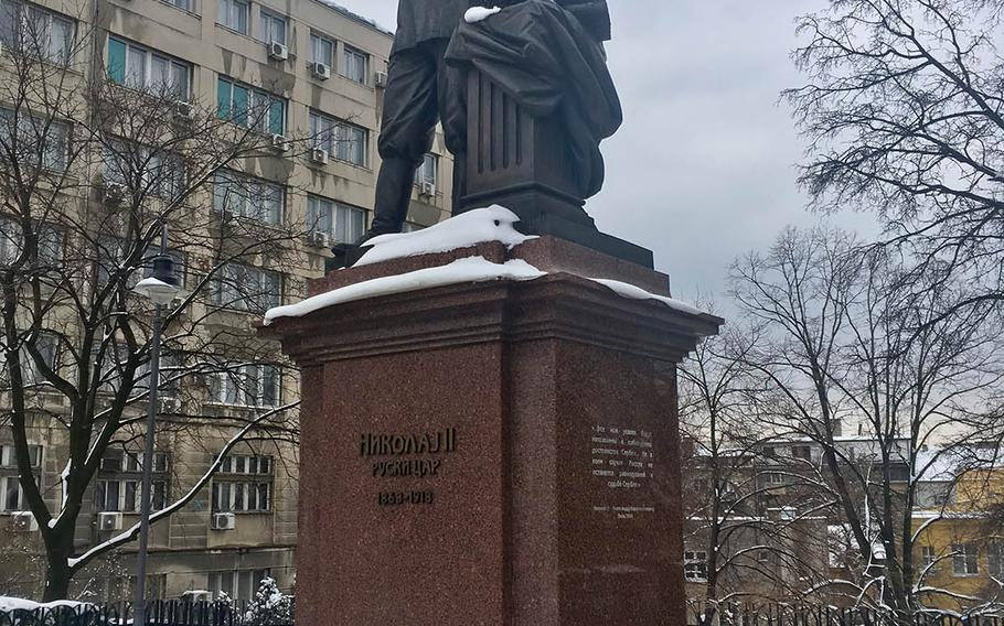 A newly erected statue of Russian Czar Nicholas II in downtown Belgrade. The statue is one of the many outward signs of Russia's growing influence in Serbia, which critics say is turning into Moscow's principal outpost in eastern Europe.