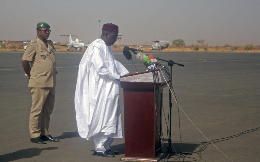Niger Defense Minister Kalla Mountari speaks at the end of Flintlock 2018. Niger hosted this year?s annual special operations war game. Next year, the exercise will be held in Burkina Faso.