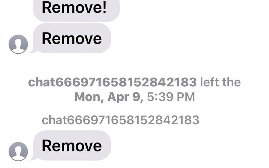 This screenshot shows a text message conversation from April 9, 2018 started by a group text an Army recruiter sent to more than 200 parents and students at Brownsburg High School in Indiana. Dozens of recipients replied asking to be removed, resulting in a barrage of messages to the group.