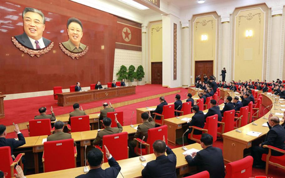 North Korean Kim Jong Un oversees a meeting in this undated photo released recently by the Korean Central News Agency.