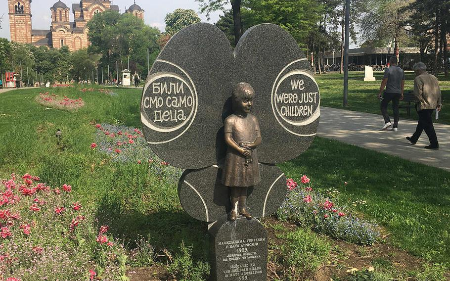 A monument to the children killed during the NATO bombing of Serbia in 1999. Remembrance ceremonies are held regularly in front of the monument, located in a park in downtown Belgrade.