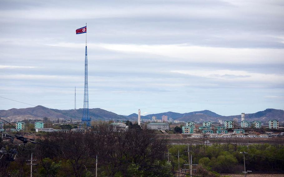 A 525-foot North Korean flag hovers over an area dubbed Propaganda Village, Tuesday, April 24, 2018. The village is less than a mile from the South Korean hamlet of Taesong-dong, which the military calls Freedom Village.