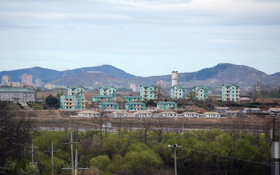 A view of buildings Tuesday, April 24, 2018, in the North Korea village of Kijong-dong, which the military has dubbed Propaganda Village because it is believed to be largely vacant and meant just for show.