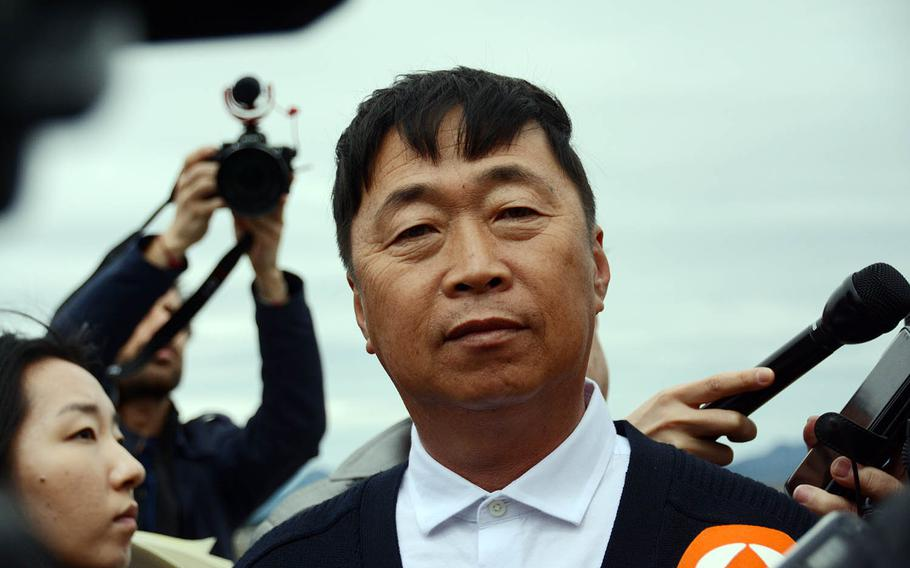 Kim Dongku, mayor of the South Korean village of Taesong-dong, speaks to reporters, Tuesday, April 24, 2018.