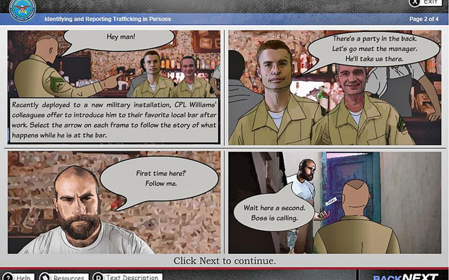 A screen grab of the U.S. Department of Defense Combating Trafficking in Persons computer-based training module. The course is one of three mandates being eliminated at Army headquarters level in a bid to streamline training requirements, though combatant commanders may opt to require them.