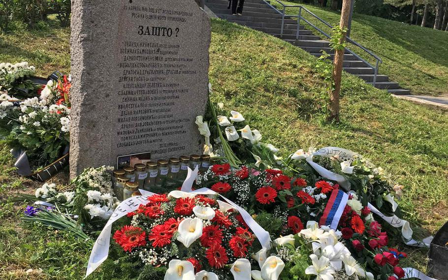 Monument to the employees killed in NATO's bombing of Serbian state TV building during the 1999 Kosovo War.