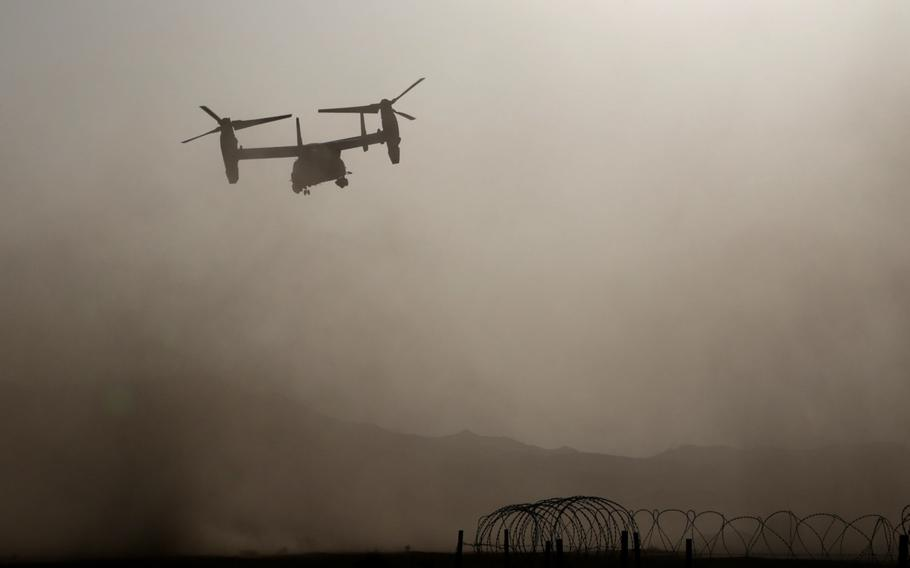 A U.S. Marine Corps MV-22B Osprey takes off from the training area in Jordan in support of exercise Eager Lion, April 19, 2018.