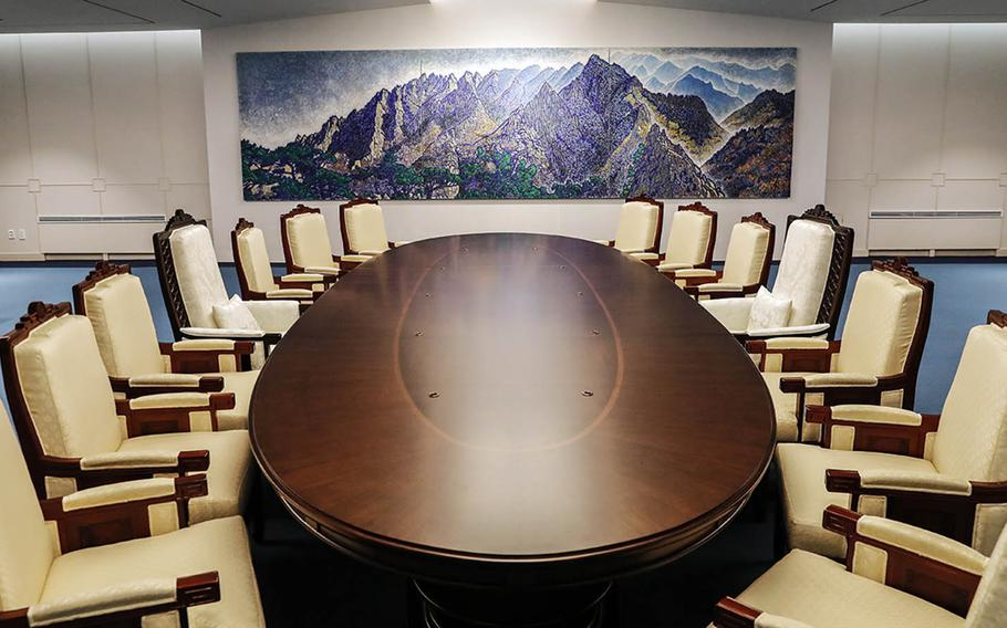 The table and chairs that will be used for the summit between North Korean leader Kim Jong Un and South Korean President Moon Jae-in. The oval-shaped table is exactly 2,018 millimeters in diameter to highlight the historic 2018 summit, according to the president's office.