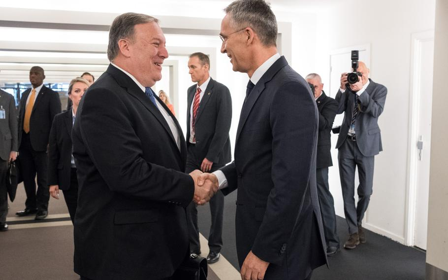 U.S. Secretary of State Mike Pompeo is welcomed by NATO Secretary-General Jens Stoltenberg to the organization's headquarters in Brussels, Belgium, Friday, April, 27, 2018.