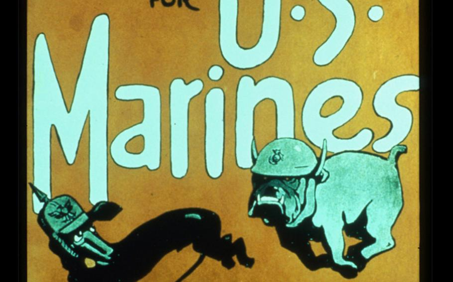 """This Marine Corps recruiting poster appeared shortly after the World War I Battle of Belleau Wood, which purportedly gave birth to the term """"Devil Dogs."""""""