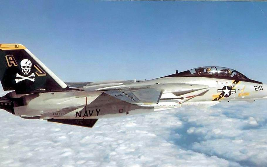 An F-14A Tomcat from Fighter Squadron 84 is pictured in this undated photo from the U.S. Navy. The squadron is nicknamed the Jolly Rogers.