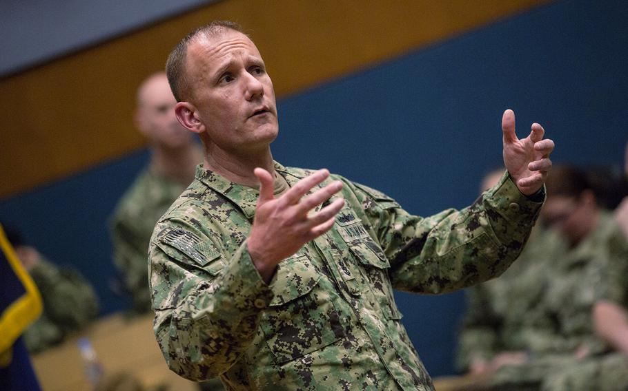 Master Chief Petty Officer of the Navy Steven Giordano speaks to sailors at Chinhae Naval Base, South Korea, Friday, April 27, 2018.