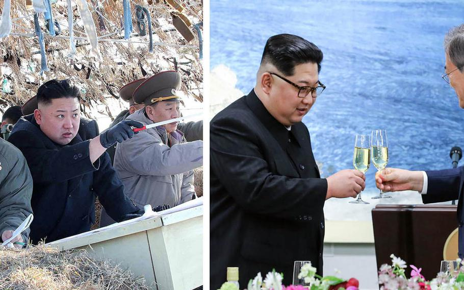 Images of North Korean leader Kim Jong Un warmly greeting South Korea's president during their summit contrast sharply with his reputation as a ruthless leader. At left, he's shown presiding over a ballistic-missile test last year. At right, he toasts Moon during their meeting on April 27, 2018.