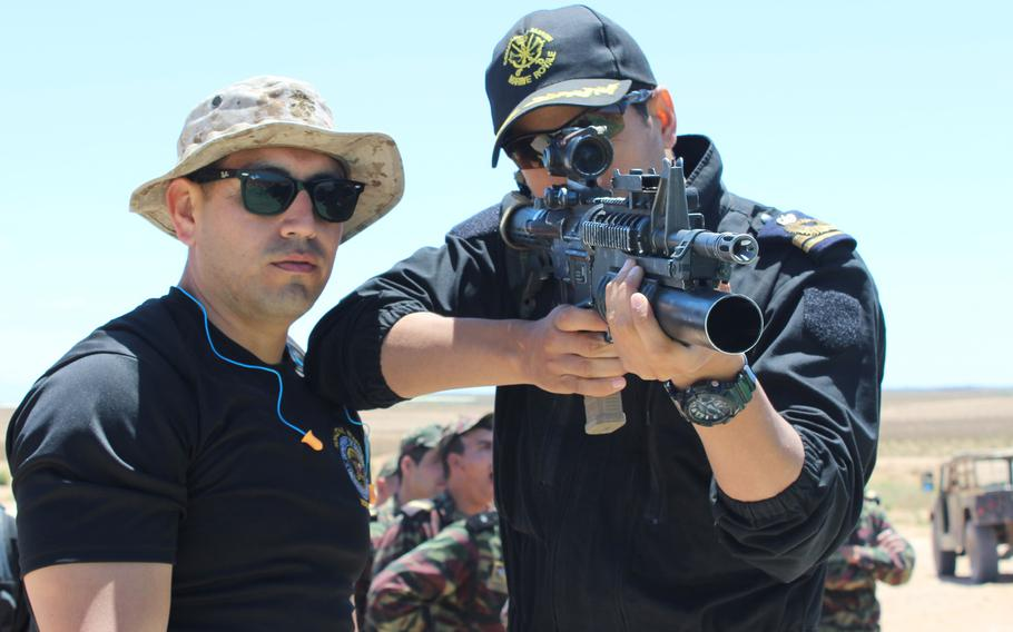 A member of the Moroccan Royal Armed Forces takes aim for nonlethal weapons training as part of African Lion 2018, Tifnit, Morocco, April 21, 2018.